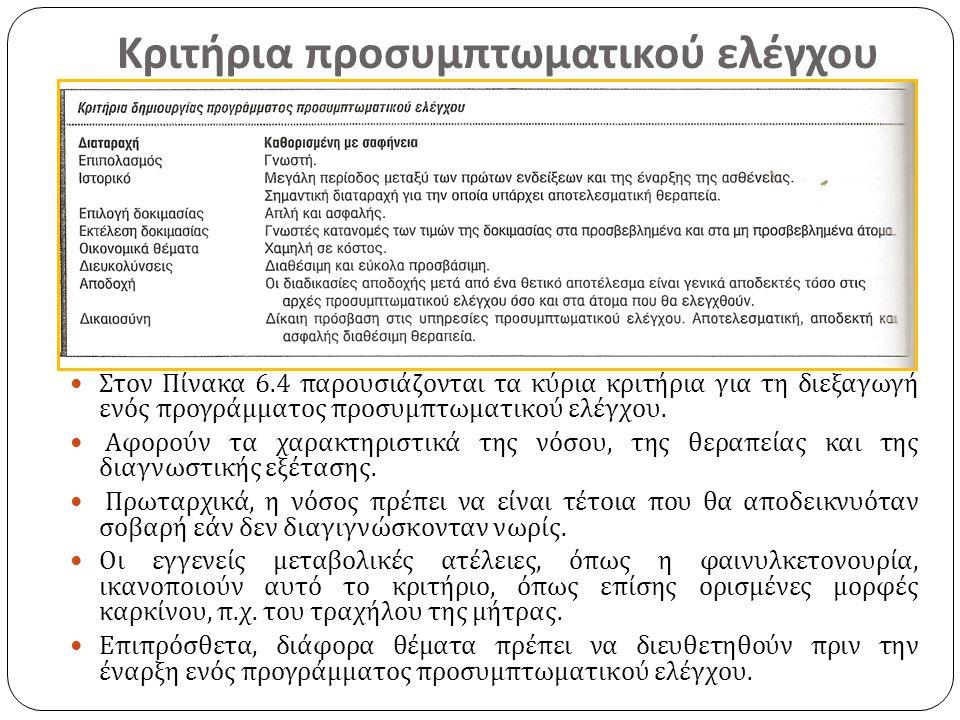 Κριτήρια προσυμπτωματικού ελέγχου Στον Πίνακα 6.4 παρουσιάζονται τα κύρια κριτήρια για τη διεξαγωγή ενός προγράμματος προσυμπτωματικού ελέγχου. Αφορού