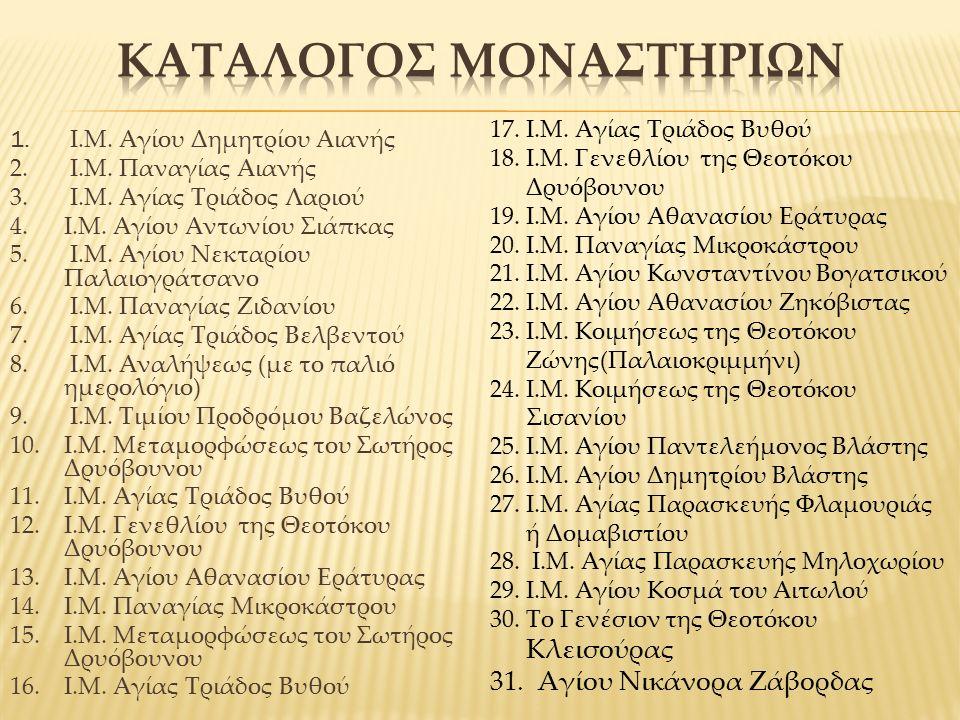 1.Ι.Μ. Αγίου Δημητρίου Αιανής 2. Ι.Μ. Παναγίας Αιανής 3.