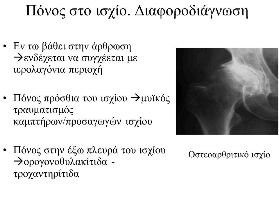 Πόνος στο ισχίο. Διαφοροδιάγνωση Εν τω βάθει στην άρθρωση  ενδέχεται να συγχέεται με ιερολαγόνια περιοχή Πόνος πρόσθια του ισχίου  μυϊκός τραυματισμ