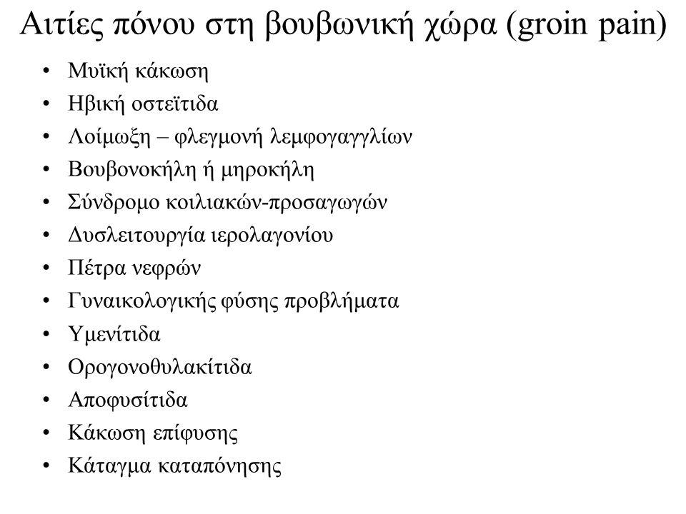 Αιτίες πόνου στη βουβωνική χώρα (groin pain) Μυϊκή κάκωση Ηβική οστεϊτιδα Λοίμωξη – φλεγμονή λεμφογαγγλίων Βουβονοκήλη ή μηροκήλη Σύνδρομο κοιλιακών-π