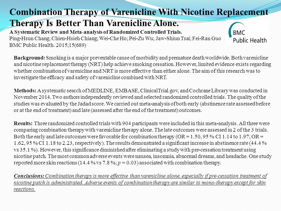 Combination Therapy of Varenicline With Nicotine Replacement Therapy Is Better Than Varenicline Alone.