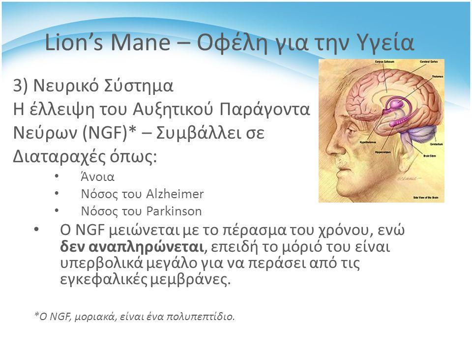 3) Νευρικό Σύστημα Η έλλειψη του Αυξητικού Παράγοντα Νεύρων (NGF)* – Συμβάλλει σε Διαταραχές όπως: Άνοια Νόσος του Alzheimer Νόσος του Parkinson Ο NGF μειώνεται με το πέρασμα του χρόνου, ενώ δεν αναπληρώνεται, επειδή το μόριό του είναι υπερβολικά μεγάλο για να περάσει από τις εγκεφαλικές μεμβράνες.