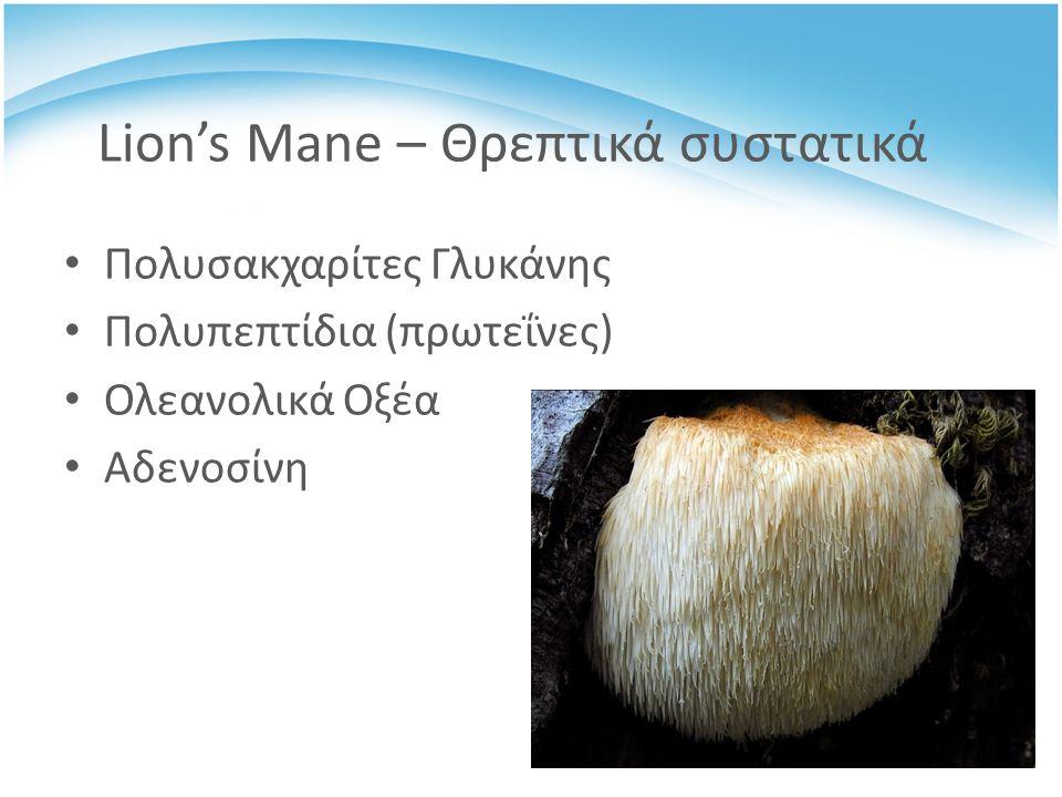 Lion's Mane – Θρεπτικά συστατικά Πολυσακχαρίτες Γλυκάνης Πολυπεπτίδια (πρωτεΐνες) Ολεανολικά Οξέα Αδενοσίνη