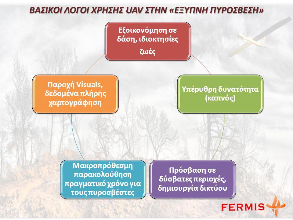 ΒΑΣΙΚΟΙ ΛΟΓΟΙ ΧΡΗΣΗΣ UAV ΣΤΗΝ «ΕΞΥΠΝΗ ΠΥΡΟΣΒΕΣΗ» Εξοικονόμηση σε δάση, ιδιοκτησίες ζωές Υπέρυθρη δυνατότητα (καπνός) Πρόσβαση σε δύσβατες περιοχές, δημιουργία δικτύου Μακροπρόθεσμη παρακολούθηση πραγματικό χρόνο για τους πυροσβέστες Παροχή Visuals, δεδομένα πλήρης χαρτογράφηση