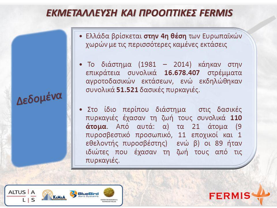 ΕΚΜΕΤΑΛΛΕΥΣΗ ΚΑΙ ΠΡΟΟΠΤΙΚΕΣ FERMIS Ελλάδα βρίσκεται στην 4η θέση των Ευρωπαϊκών χωρών με τις περισσότερες καμένες εκτάσεις Το διάστημα (1981 – 2014) κάηκαν στην επικράτεια συνολικά 16.678.407 στρέμματα αγροτοδασικών εκτάσεων, ενώ εκδηλώθηκαν συνολικά 51.521 δασικές πυρκαγιές.