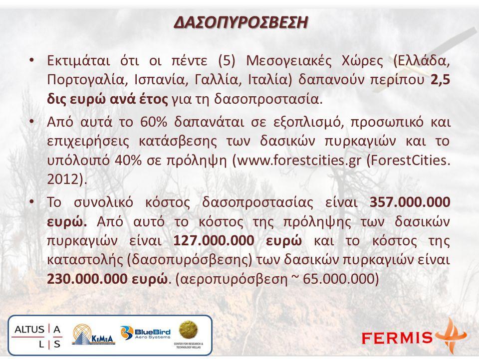 Εκτιμάται ότι οι πέντε (5) Μεσογειακές Χώρες (Ελλάδα, Πορτογαλία, Ισπανία, Γαλλία, Ιταλία) δαπανούν περίπου 2,5 δις ευρώ ανά έτος για τη δασοπροστασία.