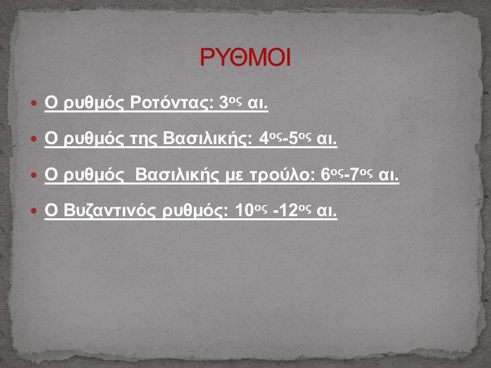 Ο ρυθμός Ροτόντας: 3 ος αι. Ο ρυθμός της Βασιλικής: 4 ος -5 ος αι. Ο ρυθμός Βασιλικής με τρούλο: 6 ος -7 ος αι. Ο Βυζαντινός ρυθμός: 10 ος -12 ος αι.