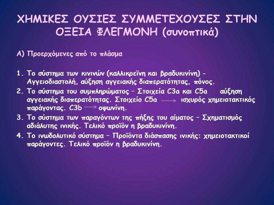 ΧΗΜΙΚΕΣ ΟΥΣΙΕΣ ΣΥΜΜΕΤΕΧΟΥΣΕΣ ΣΤΗΝ ΟΞΕΙΑ ΦΛΕΓΜΟΝΗ (συνοπτικά) Α) Προερχόμενες από το πλάσμα 1.Το σύστημα των κινινών (καλλικρεϊνη και βραδυκινίνη) - Αγγειοδιαστολή, αύξηση αγγειακής διαπερατότητας, πόνος.