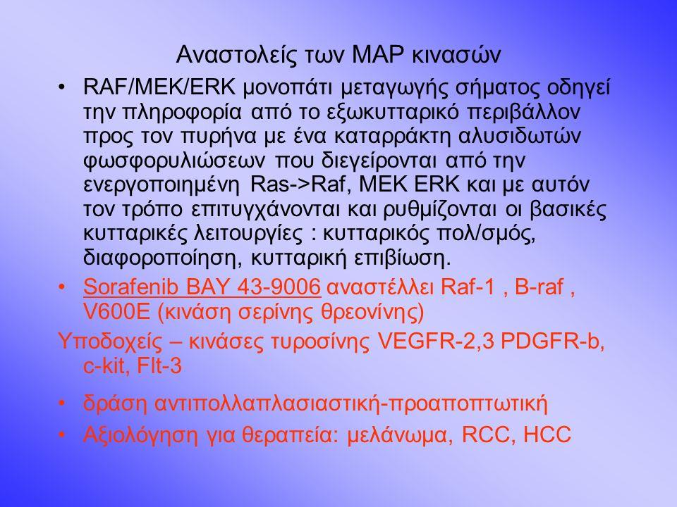 Αναστολείς των ΜΑΡ κινασών RAF/MEK/ERK μονοπάτι μεταγωγής σήματος οδηγεί την πληροφορία από το εξωκυτταρικό περιβάλλον προς τον πυρήνα με ένα καταρράκτη αλυσιδωτών φωσφορυλιώσεων που διεγείρονται από την ενεργοποιημένη Ras->Raf, MEK ERK και με αυτόν τον τρόπο επιτυγχάνονται και ρυθμίζονται οι βασικές κυτταρικές λειτουργίες : κυτταρικός πολ/σμός, διαφοροποίηση, κυτταρική επιβίωση.