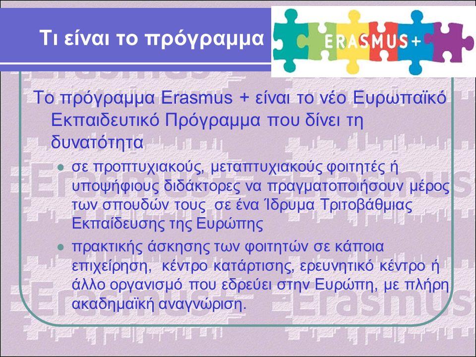 Τι είναι το πρόγραμμα Το πρόγραμμα Erasmus + είναι το νέο Ευρωπαϊκό Εκπαιδευτικό Πρόγραμμα που δίνει τη δυνατότητα σε προπτυχιακούς, μεταπτυχιακούς φοιτητές ή υποψήφιους διδάκτορες να πραγματοποιήσουν μέρος των σπουδών τους σε ένα Ίδρυμα Τριτοβάθμιας Εκπαίδευσης της Ευρώπης πρακτικής άσκησης των φοιτητών σε κάποια επιχείρηση, κέντρο κατάρτισης, ερευνητικό κέντρο ή άλλο οργανισμό που εδρεύει στην Ευρώπη, με πλήρη ακαδημαϊκή αναγνώριση.