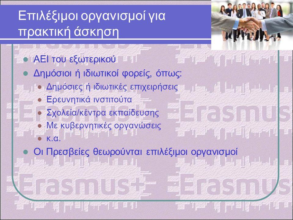 Επιλέξιμοι οργανισμοί για πρακτική άσκηση ΑΕΙ του εξωτερικού Δημόσιοι ή ιδιωτικοί φορείς, όπως: Δημόσιες ή ιδιωτικές επιχειρήσεις Ερευνητικά ινστιτούτα Σχολεία/κέντρα εκπαίδευσης Με κυβερνητικές οργανώσεις κ.α.