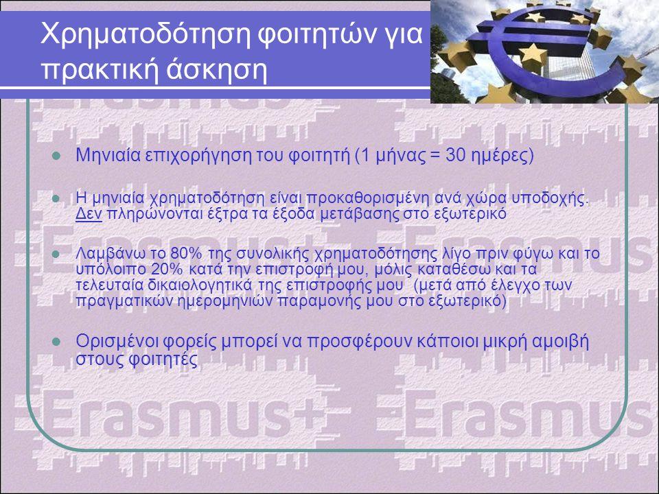 Χρηματοδότηση φοιτητών για πρακτική άσκηση Μηνιαία επιχορήγηση του φοιτητή (1 μήνας = 30 ημέρες) Η μηνιαία χρηματοδότηση είναι προκαθορισμένη ανά χώρα υποδοχής.
