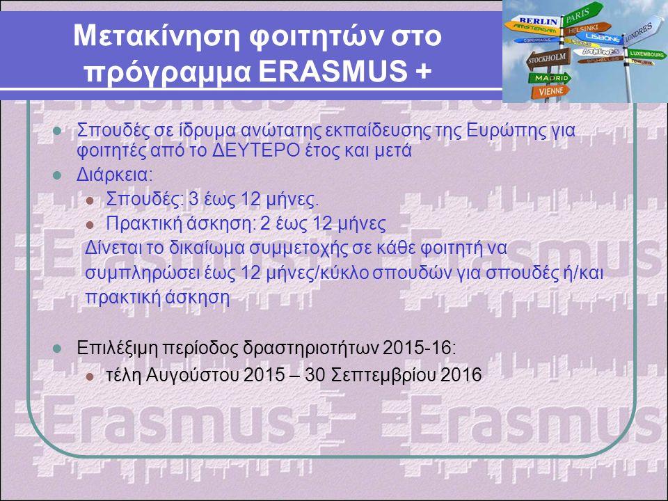 Διαφοροποιήσεις στο πρόγραμμα ERASMUS+ Ο ίδιος φοιτητής μπορεί να μετακινηθεί το πολύ μέχρι 12 μήνες ανά κύκλο σπουδών, ανεξαρτήτως του αριθμού και του είδους της κινητικότητας (Σπουδές ή πρακτική άσκηση) Οι φοιτητές που φοιτούν σε one-cycle study όπως της Πολυτεχνικής Σχολής και της Σχολής Καλών Τεχνών μπορούν να μετακινηθούν το ανώτατο για 24 μήνες Οι φοιτητές που φοιτούν σε one-cycle study όπως της Πολυτεχνικής Σχολής και της Σχολής Καλών Τεχνών μπορούν να μετακινηθούν το ανώτατο για 24 μήνες Οι περίοδοι κινητικότητας θα πρέπει να ολοκληρώνονται πριν τις 30/9 του τρέχοντος έτους Οι περίοδοι κινητικότητας θα πρέπει να ολοκληρώνονται πριν τις 30/9 του τρέχοντος έτους Οι φοιτητές που μετακινήθηκαν για σπουδές ή για πρακτική άσκηση κατά το LLP μπορούν να μετακινηθούν και πάλι στο Erasmus+, μέχρι το ανώτατο όριο των 12 μηνών ανά κύκλο σπουδών.
