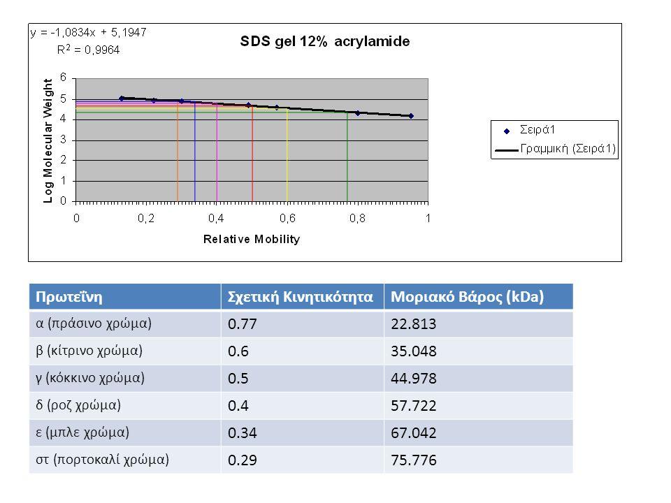 ΠρωτεΐνηΣχετική ΚινητικότηταΜοριακό Βάρος (kDa) α (πράσινο χρώμα) 0.7722.813 β (κίτρινο χρώμα) 0.635.048 γ (κόκκινο χρώμα) 0.544.978 δ (ροζ χρώμα) 0.4