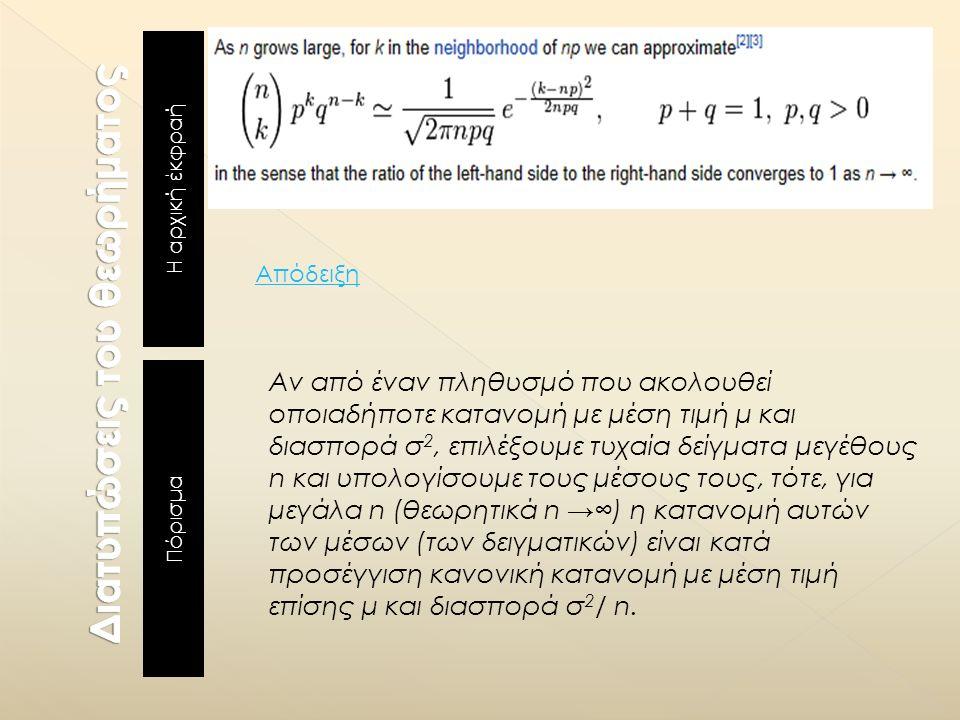 Η αρχική έκφραή Πόρισμα Αν από έναν πληθυσμό που ακολουθεί οποιαδήποτε κατανομή με μέση τιμή μ και διασπορά σ 2, επιλέξουμε τυχαία δείγματα μεγέθους n και υπολογίσουμε τους μέσους τους, τότε, για μεγάλα n (θεωρητικά n →∞) η κατανομή αυτών των μέσων (των δειγματικών) είναι κατά προσέγγιση κανονική κατανομή με μέση τιμή επίσης μ και διασπορά σ 2 / n.