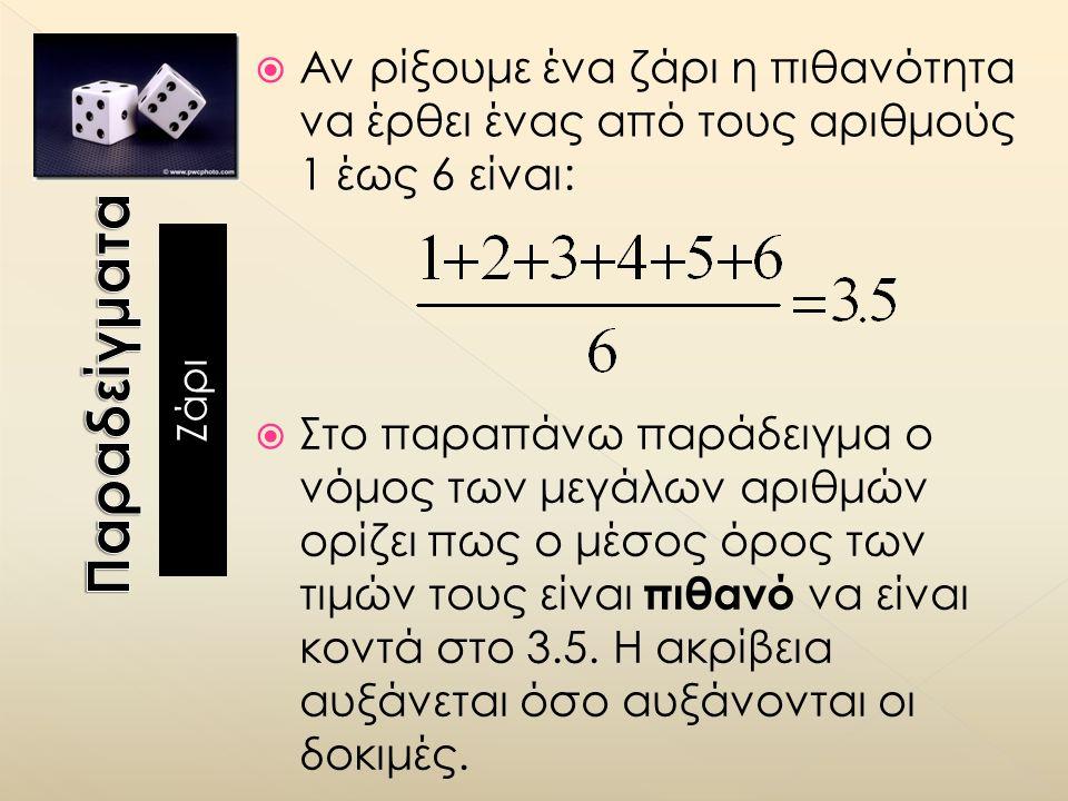  Αν ρίξουμε ένα ζάρι η πιθανότητα να έρθει ένας από τους αριθμούς 1 έως 6 είναι:  Στο παραπάνω παράδειγμα ο νόμος των μεγάλων αριθμών ορίζει πως ο μέσος όρος των τιμών τους είναι πιθανό να είναι κοντά στο 3.5.