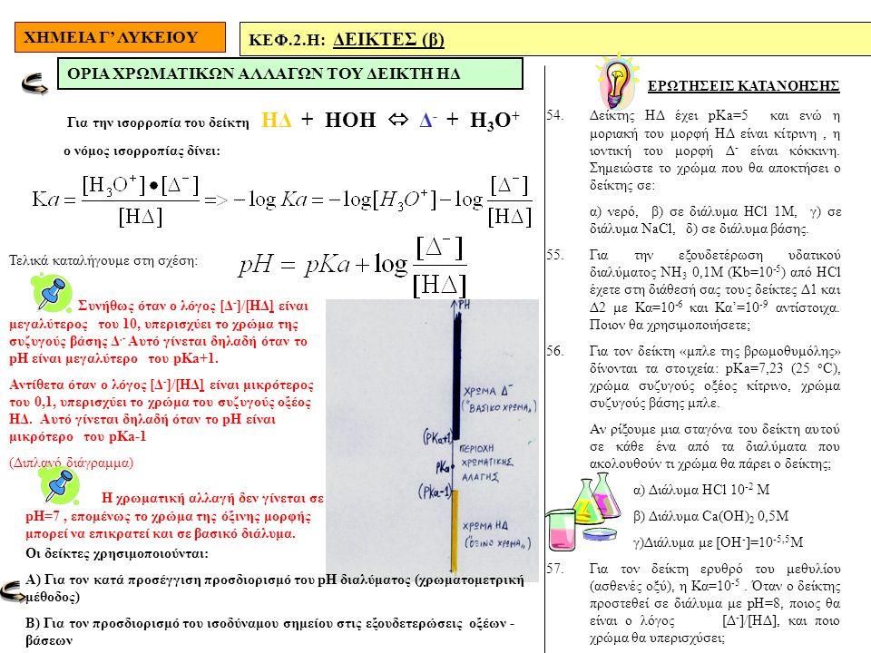 ΧΗΜΕΙΑ Γ' ΛΥΚΕΙΟΥ ΚΕΦ.2.H: ΔΕΙΚΤΕΣ (β) ΕΡΩΤΗΣΕΙΣ ΚΑΤΑΝΟΗΣΗΣ ΟΡΙΑ ΧΡΩΜΑΤΙΚΩΝ ΑΛΛΑΓΩΝ ΤΟΥ ΔΕΙΚΤΗ ΗΔ 54.Δείκτης ΗΔ έχει pKa=5 και ενώ η μοριακή του μορφή