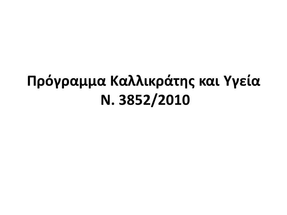 Πρόγραμμα Καλλικράτης και Υγεία Ν. 3852/2010