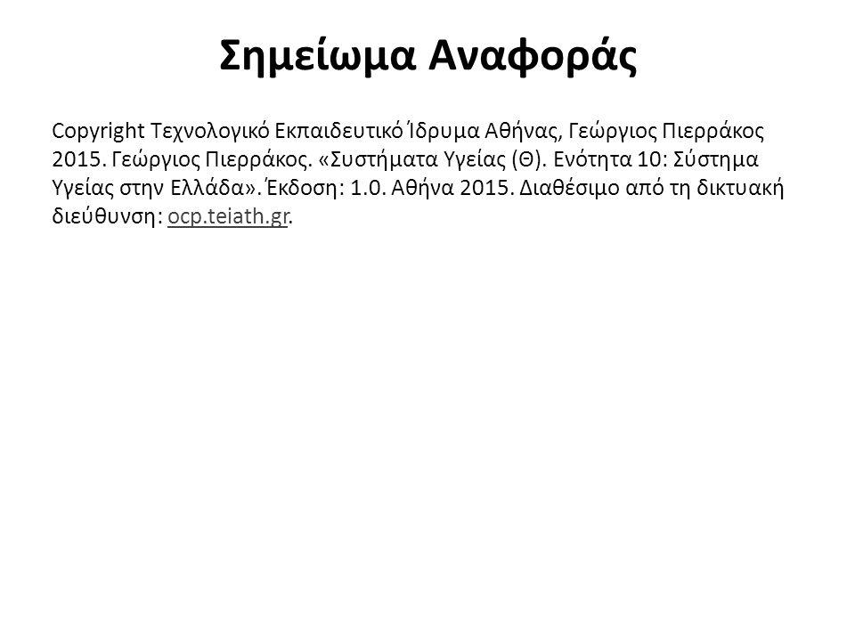 Σημείωμα Αναφοράς Copyright Τεχνολογικό Εκπαιδευτικό Ίδρυμα Αθήνας, Γεώργιος Πιερράκος 2015. Γεώργιος Πιερράκος. «Συστήματα Υγείας (Θ). Ενότητα 10: Σύ