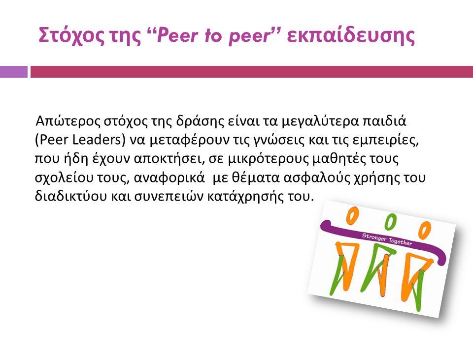 Στόχος της Peer to peer εκπαίδευσης Απώτερος στόχος της δράσης είναι τα μεγαλύτερα παιδιά (Peer Leaders) να μεταφέρουν τις γνώσεις και τις εμπειρίες, που ήδη έχουν αποκτήσει, σε μικρότερους μαθητές τους σχολείου τους, αναφορικά με θέματα ασφαλούς χρήσης του διαδικτύου και συνεπειών κατάχρησής του.