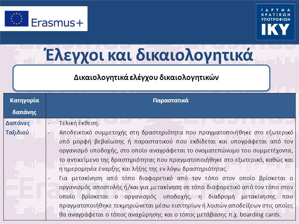 Έλεγχοι και δικαιολογητικά Δικαιολογητικά ελέγχου δικαιολογητικών Κατηγορία δαπάνης Παραστατικά Δαπάνες Ταξιδιού -Τελική έκθεση.