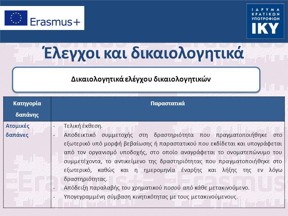 Έλεγχοι και δικαιολογητικά Δικαιολογητικά ελέγχου δικαιολογητικών Κατηγορία δαπάνης Παραστατικά Ατομικές δαπάνες -Τελική έκθεση.
