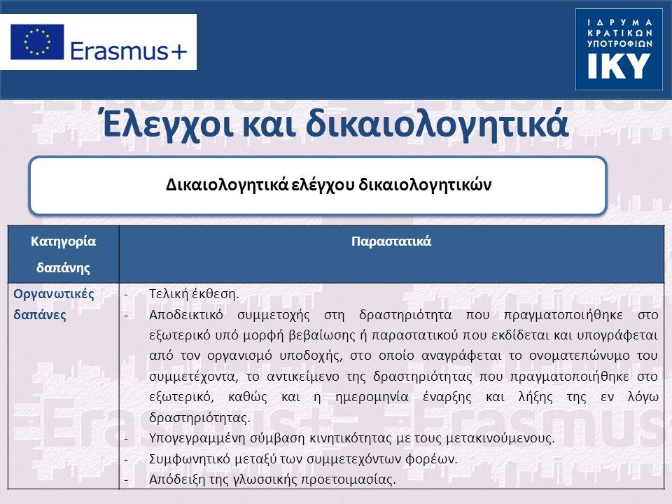 Έλεγχοι και δικαιολογητικά Δικαιολογητικά ελέγχου δικαιολογητικών Κατηγορία δαπάνης Παραστατικά Οργανωτικές δαπάνες -Τελική έκθεση.