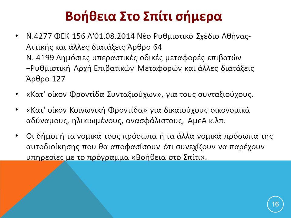 Βοήθεια Στο Σπίτι σήμερα Ν.4277 ΦΕΚ 156 Α'01.08.2014 Νέο Ρυθμιστικό Σχέδιο Αθήνας- Αττικής και άλλες διατάξεις Άρθρο 64 Ν. 4199 Δημόσιες υπεραστικές ο