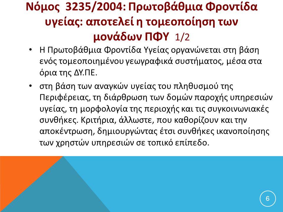 Νόμος 3235/2004: Πρωτοβάθμια Φροντίδα υγείας: αποτελεί η τομεοποίηση των μονάδων ΠΦΥ 1/2 Η Πρωτοβάθμια Φροντίδα Υγείας οργανώνεται στη βάση ενός τομεο