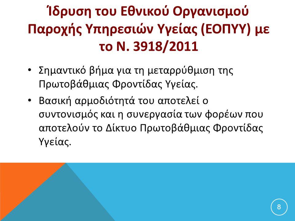 Ίδρυση του Εθνικού Οργανισμού Παροχής Υπηρεσιών Υγείας (ΕΟΠΥΥ) με το Ν. 3918/2011 Σημαντικό βήμα για τη μεταρρύθμιση της Πρωτοβάθμιας Φροντίδας Υγείας