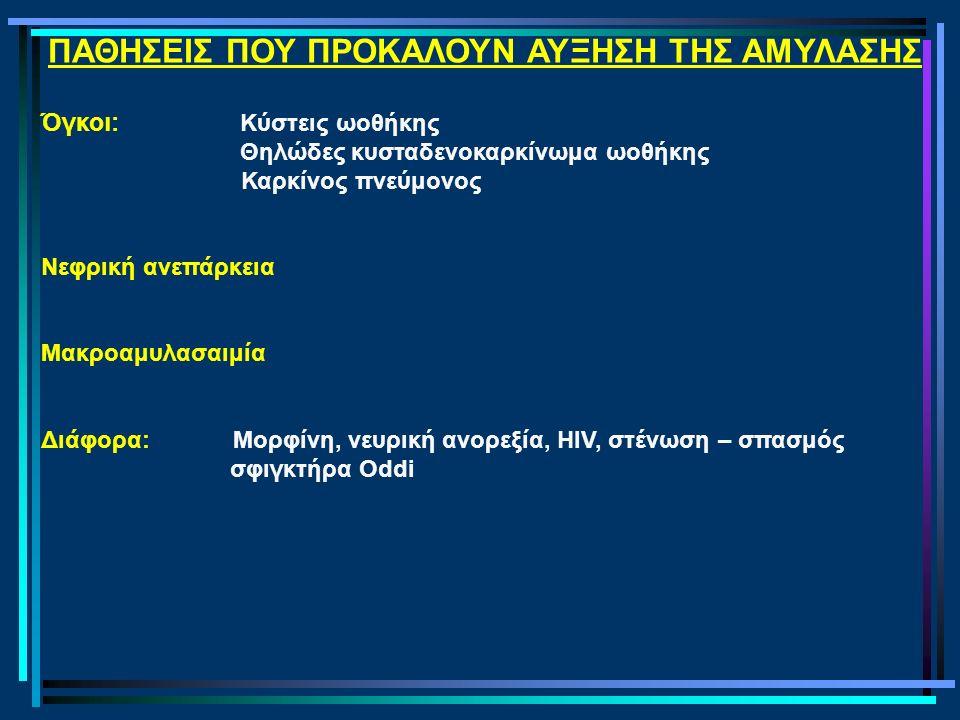 ΠΑΘΗΣΕΙΣ ΠΟΥ ΠΡΟΚΑΛΟΥΝ ΑΥΞΗΣΗ ΤΗΣ ΑΜΥΛΑΣΗΣ Όγκοι: Κύστεις ωοθήκης Θηλώδες κυσταδενοκαρκίνωμα ωοθήκης Καρκίνος πνεύμονος Νεφρική ανεπάρκεια Μακροαμυλασαιμία Διάφορα: Μορφίνη, νευρική ανορεξία, HIV, στένωση – σπασμός σφιγκτήρα Oddi