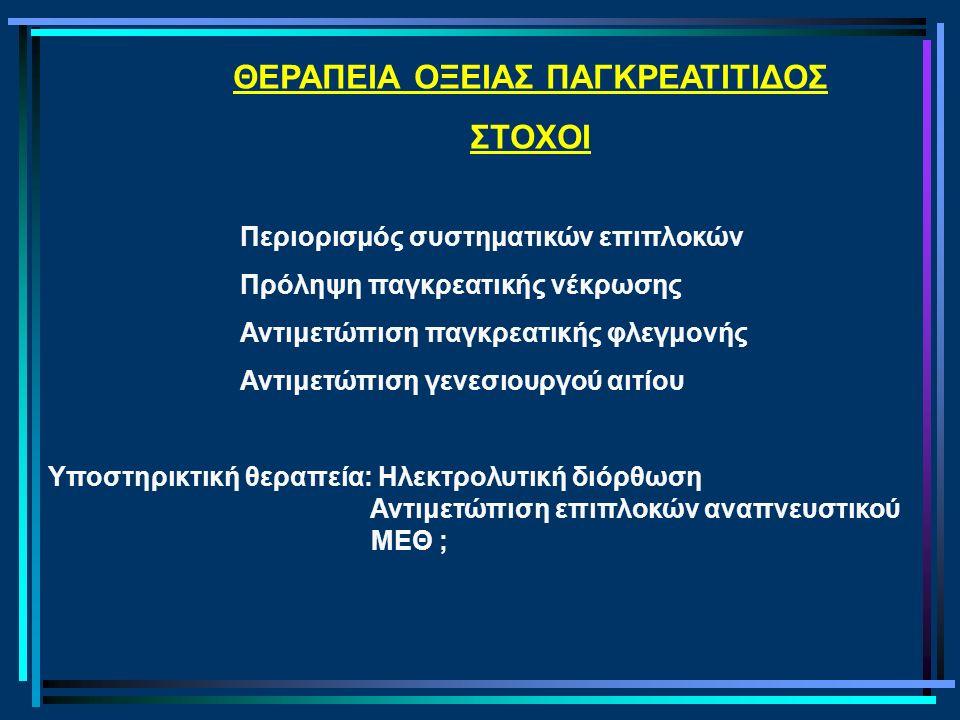 ΘΕΡΑΠΕΙΑ ΟΞΕΙΑΣ ΠΑΓΚΡΕΑΤΙΤΙΔΟΣ ΣΤΟΧΟΙ Περιορισμός συστηματικών επιπλοκών Πρόληψη παγκρεατικής νέκρωσης Αντιμετώπιση παγκρεατικής φλεγμονής Αντιμετώπιση γενεσιουργού αιτίου Υποστηρικτική θεραπεία: Ηλεκτρολυτική διόρθωση Αντιμετώπιση επιπλοκών αναπνευστικού ΜΕΘ ;