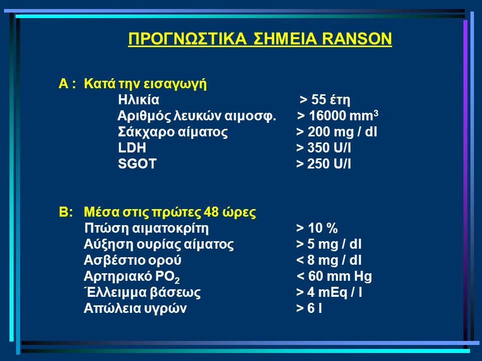 ΠΡΟΓΝΩΣΤΙΚΑ ΣΗΜΕΙΑ RANSON A : Κατά την εισαγωγή Ηλικία> 55 έτη Αριθμός λευκών αιμοσφ. > 16000 mm 3 Σάκχαρο αίματος > 200 mg / dl LDΗ > 350 U/l SGOT >