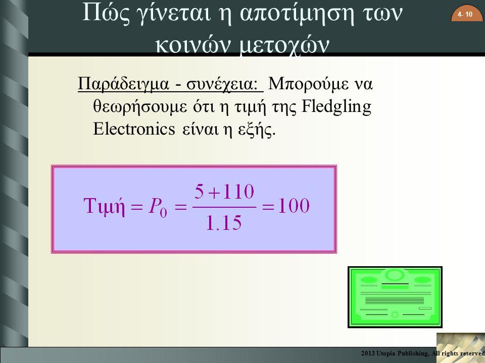 4- 10 Πώς γίνεται η αποτίμηση των κοινών μετοχών Παράδειγμα - συνέχεια: Μπορούμε να θεωρήσουμε ότι η τιμή της Fledgling Electronics είναι η εξής.