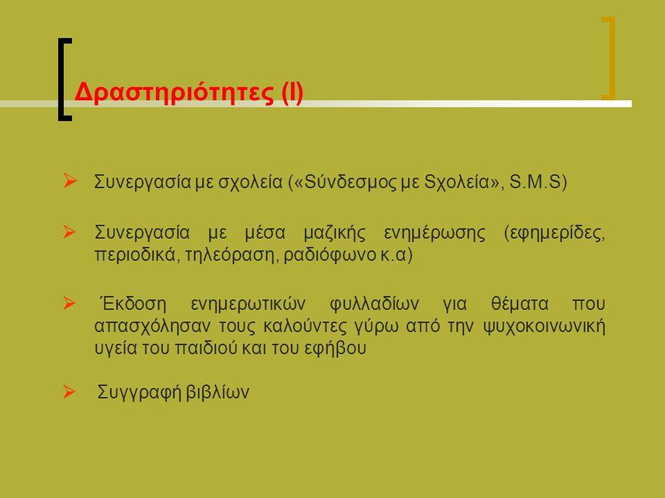 Δραστηριότητες (Ι)  Συνεργασία με σχολεία («Sύνδεσμος με Sχολεία», S.M.S)  Συνεργασία με μέσα μαζικής ενημέρωσης (εφημερίδες, περιοδικά, τηλεόραση, ραδιόφωνο κ.α)  Έκδοση ενημερωτικών φυλλαδίων για θέματα που απασχόλησαν τους καλούντες γύρω από την ψυχοκοινωνική υγεία του παιδιού και του εφήβου  Συγγραφή βιβλίων