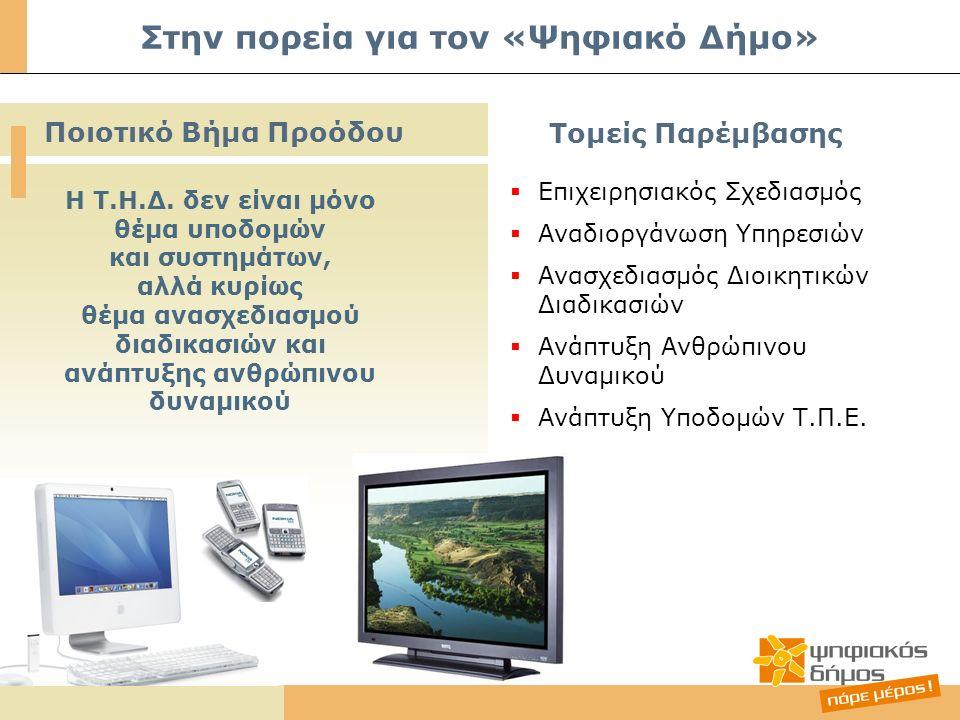 Στην πορεία για τον «Ψηφιακό Δήμο» Ποιοτικό Βήμα Προόδου Τομείς Παρέμβασης Η Τ.Η.Δ.