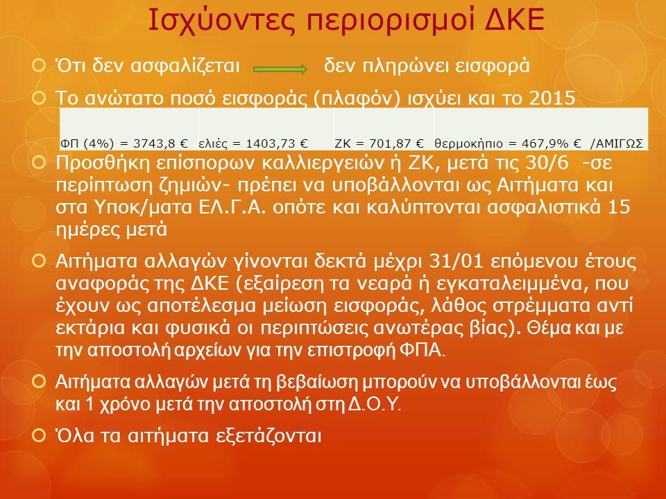 Ισχύοντες περιορισμοί ΔΚΕ  Ότι δεν ασφαλίζεται δεν πληρώνει εισφορά  Το ανώτατο ποσό εισφοράς (πλαφόν) ισχύει και το 2015  Προσθήκη επίσπορων καλλι