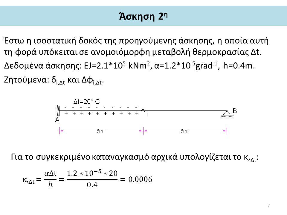 Άσκηση 2 η – υπολογισμός δ i,Δt Για τον υπολογισμό του δ i,Δt πρέπει να ασκηθεί το i μια μοναδιαία δύναμη, όπως ακριβώς και στην 1 η Άσκηση.