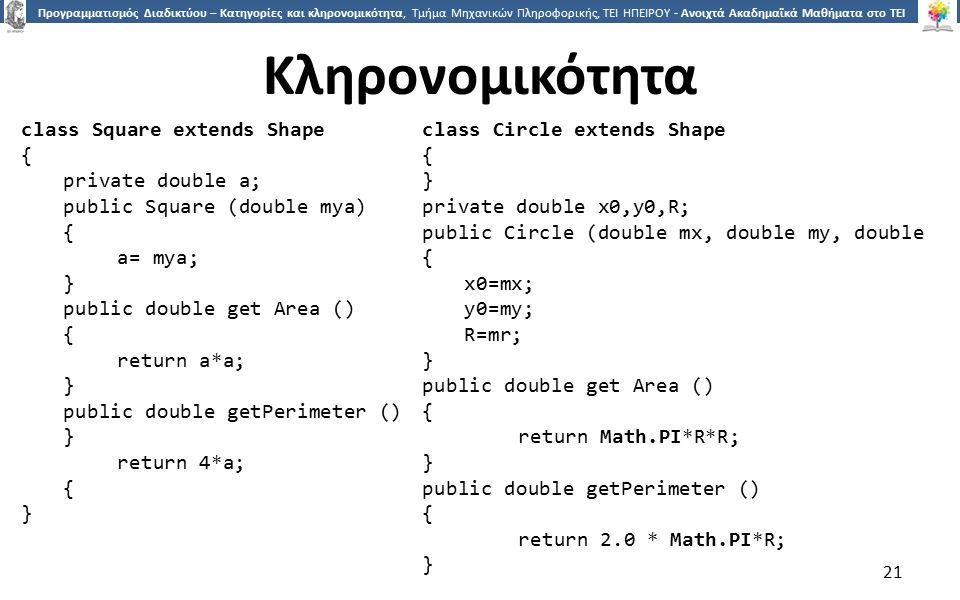 2121 Προγραμματισμός Διαδικτύου – Κατηγορίες και κληρονομικότητα, Τμήμα Μηχανικών Πληροφορικής, ΤΕΙ ΗΠΕΙΡΟΥ - Ανοιχτά Ακαδημαϊκά Μαθήματα στο ΤΕΙ Ηπείρου Κληρονομικότητα 21 class Square extends Shape { private double a; public Square (double mya) { a= mya; } public double get Area () { return a*a; } public double getPerimeter () } return 4*a; { } class Circle extends Shape { } private double x0,y0,R; public Circle (double mx, double my, double { x0=mx; y0=my; R=mr; } public double get Area () { return Math.PI*R*R; } public double getPerimeter () { return 2.0 * Math.PI*R; }