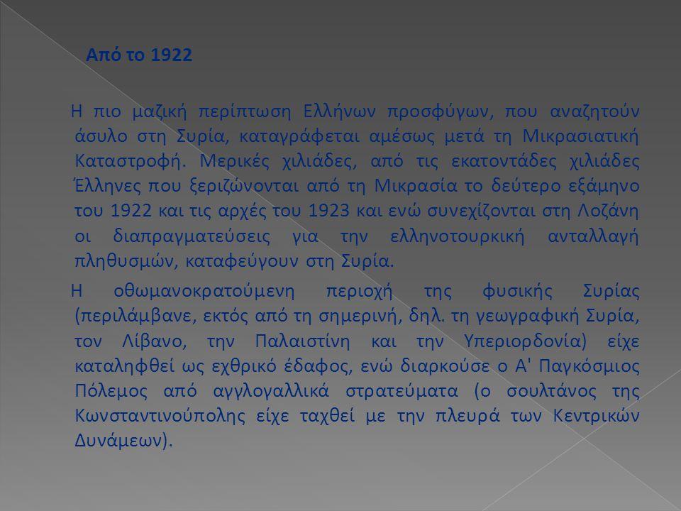 Από το 1922 Η πιο μαζική περίπτωση Ελλήνων προσφύγων, που αναζητούν άσυλο στη Συρία, καταγράφεται αμέσως μετά τη Μικρασιατική Καταστροφή. Μερικές χιλι