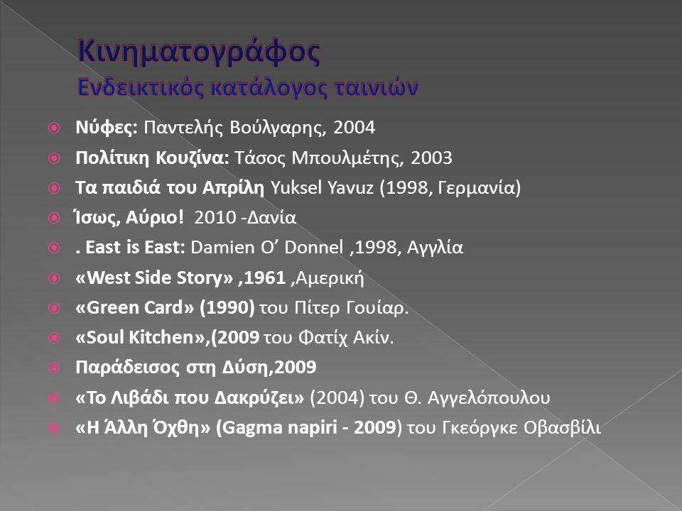  Νύφες: Παντελής Βούλγαρης, 2004  Πολίτικη Κουζίνα: Τάσος Μπουλμέτης, 2003  Τα παιδιά του Απρίλη Yuksel Yavuz (1998, Γερμανία)  Ίσως, Αύριο! 2010