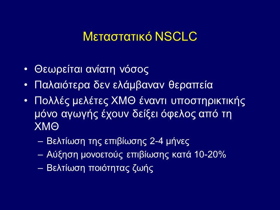 Μεταστατικό NSCLC Θεωρείται ανίατη νόσος Παλαιότερα δεν ελάμβαναν θεραπεία Πολλές μελέτες ΧΜΘ έναντι υποστηρικτικής μόνο αγωγής έχουν δείξει όφελος από τη ΧΜΘ –Βελτίωση της επιβίωσης 2-4 μήνες –Αύξηση μονοετούς επιβίωσης κατά 10-20% –Βελτίωση ποιότητας ζωής