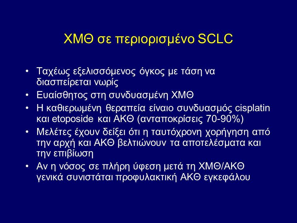 ΧΜΘ σε περιορισμένο SCLC Ταχέως εξελισσόμενος όγκος με τάση να διασπείρεται νωρίς Ευαίσθητος στη συνδυασμένη ΧΜΘ Η καθιερωμένη θεραπεία είναιο συνδυασμός cisplatin και etoposide και ΑΚΘ (ανταποκρίσεις 70-90%) Μελέτες έχουν δείξει ότι η ταυτόχρονη χορήγηση από την αρχή και ΑΚΘ βελτιώνουν τα αποτελέσματα και την επιβίωση Αν η νόσος σε πλήρη ύφεση μετά τη ΧΜΘ/ΑΚΘ γενικά συνιστάται προφυλακτική ΑΚΘ εγκεφάλου