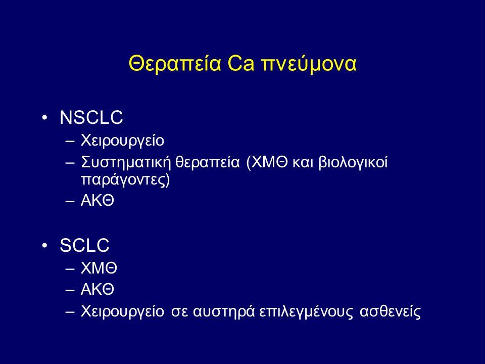 Θεραπεία Ca πνεύμονα NSCLC –Χειρουργείο –Συστηματική θεραπεία (ΧΜΘ και βιολογικοί παράγοντες) –ΑΚΘ SCLC –ΧΜΘ –ΑΚΘ –Χειρουργείο σε αυστηρά επιλεγμένους ασθενείς