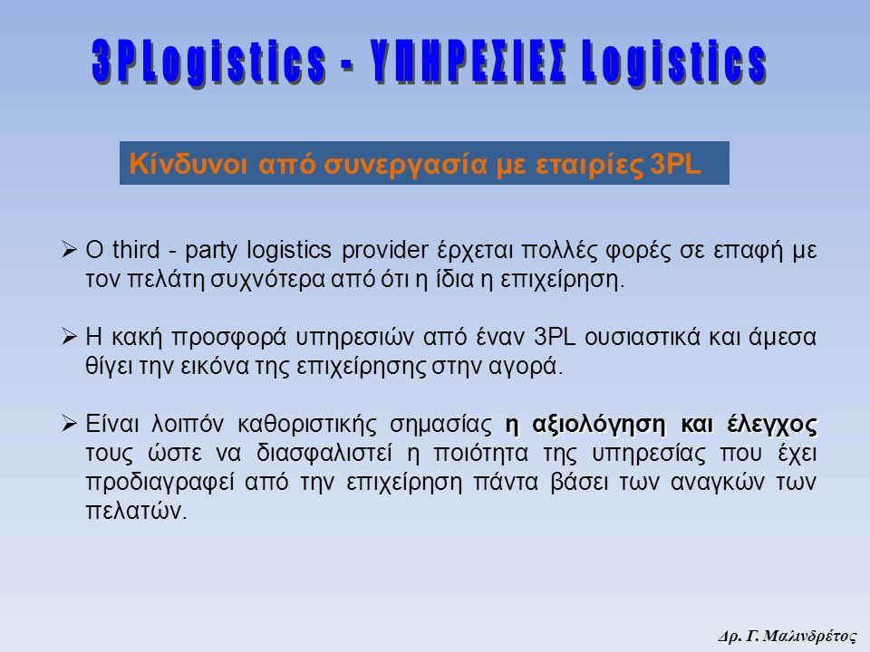 Δρ. Γ. Μαλινδρέτος  Ο third - party logistics provider έρχεται πολλές φορές σε επαφή με τον πελάτη συχνότερα από ότι η ίδια η επιχείρηση.  Η κακή πρ