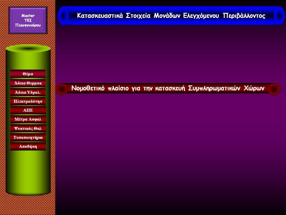 Κατασκευαστικά Στοιχεία Μονάδων Ελεγχόμενου Περιβάλλοντος Μaster TEI Πελοποννήσου Νομοθετικό πλαίσιο για την κατασκευή Συμπληρωματικών Χώρων Θέμα Άδεια Θερμοκ Ηλεκτροδότησ ΑΠΕ Μέτρα Ασφαλ Ψυκτικός Θαλ Άδεια Υδρολ.
