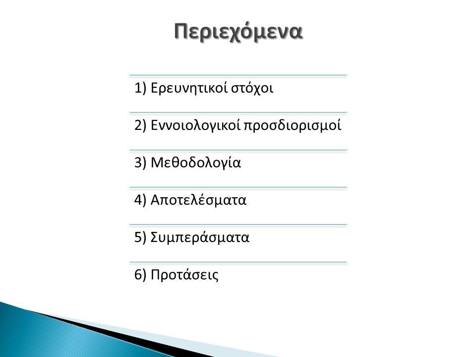 1) Ερευνητικοί στόχοι 2) Εννοιολογικοί προσδιορισμοί 3) Μεθοδολογία 4) Αποτελέσματα 5) Συμπεράσματα 6) Προτάσεις