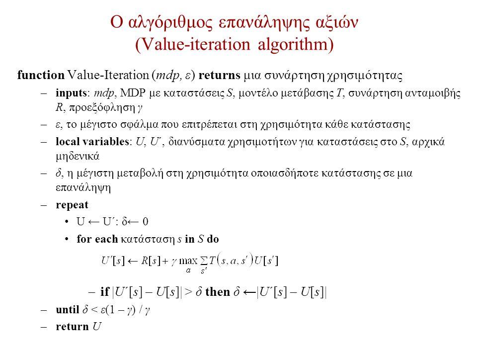 Ο αλγόριθμος επανάληψης αξιών (Value-iteration algorithm) function Value-Iteration (mdp, ε) returns μια συνάρτηση χρησιμότητας –inputs: mdp, MDP με καταστάσεις S, μοντέλο μετάβασης Τ, συνάρτηση ανταμοιβής R, προεξόφληση γ –ε, το μέγιστο σφάλμα που επιτρέπεται στη χρησιμότητα κάθε κατάστασης –local variables: U, U΄, διανύσματα χρησιμοτήτων για καταστάσεις στο S, αρχικά μηδενικά –δ, η μέγιστη μεταβολή στη χρησιμότητα οποιασδήποτε κατάστασης σε μια επανάληψη –repeat U ← U΄: δ← 0 for each κατάσταση s in S do –if |U΄[s] – U[s]| > δ then δ ←|U΄[s] – U[s]| –until δ < ε(1 – γ) / γ –return U
