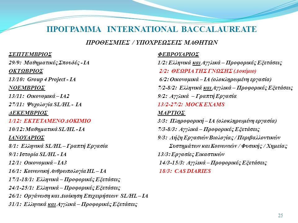 ΠΡΟΓΡΑΜΜΑ INTERNATIONAL BACCALAUREATE ΠΡΟΘΕΣΜΙΕΣ / ΥΠΟΧΡΕΩΣΕΙΣ ΜΑΘΗΤΩΝ ΣΕΠΤΕΜΒΡΙΟΣΦΕΒΡΟΥΑΡΙΟΣ 29/9: Μαθηματικές Σπουδές - IA 1/2: Ελληνικά και Αγγλικά – Προφορικές Εξετάσεις ΟΚΤΩΒΡΙΟΣ 2/2: ΘΕΩΡΙΑ ΤΗΣ ΓΝΩΣΗΣ (Δοκίμιο) 13/10: Group 4 Project - ΙΑ 6/2: Οικονομικά – IA (ολοκληρωμένη εργασία) ΝΟΕΜΒΡΙΟΣ 7/2-8/2: Ελληνικά και Αγγλικά – Προφορικές Εξετάσεις 13/11: Οικονομικά – IA2 9/2: Αγγλικά – Γραπτή Εργασία 27/11: Ψυχολογία SL/HL - IA 13/2-27/2: MOCK EXAMS ΔΕΚΕΜΒΡΙΟΣ ΜΑΡΤΙΟΣ 1/12: ΕΚΤΕΤΑΜΕΝΟ ΔΟΚΙΜΙΟ 3/3: Πληροφορική – ΙΑ (ολοκληρωμένη εργασία) 10/12: Μαθηματικά SL/HL - ΙΑ 7/3-8/3: Αγγλικά – Προφορικές Εξετάσεις ΙΑΝΟΥΑΡΙΟΣ 9/3: Λήξη Εργασιών Βιολογίας / Περιβαλλοντικών 8/1: Ελληνικά SL/HL – Γραπτή Εργασία Συστημάτων και Κοινωνιών / Φυσικής / Χημείας 9/1: Ιστορία SL/HL - ΙΑ 13/3: Εργασίες Εικαστικών 12/1: Οικονομικά – IA3 14/3-15/3: Αγγλικά – Προφορικές Εξετάσεις 16/1: Κοινωνική Ανθρωπολογία HL – ΙΑ 18/3: CAS DIARIES 17/1-18/1: Ελληνικά – Προφορικές Εξετάσεις 24/1-25/1: Ελληνικά – Προφορικές Εξετάσεις 26/1: Οργάνωση και Διοίκηση Επιχειρήσεων SL/HL – ΙΑ 31/1: Ελληνικά και Αγγλικά – Προφορικές Εξετάσεις 25