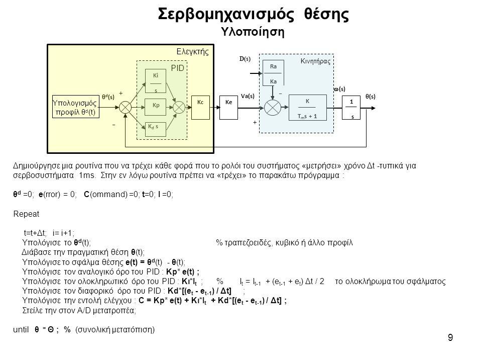 Σερβομηχανισμός θέσης Υλοποίηση 9 Δημιούργησε μια ρουτίνα που να τρέχει κάθε φορά που το ρολόι του συστήματος «μετρήσει» χρόνο Δt -τυπικά για σερβοσυστήματα 1ms.